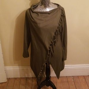 Knotted fringe cardigan airport cardigan
